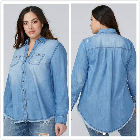 c982752c1ad05 Lane Bryant Distressed Chambray High-Low Shirt